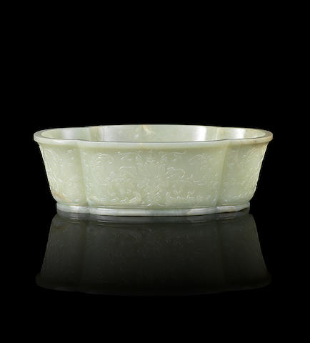 A Mughal-style pale green jade lobed oval bowl 18th century