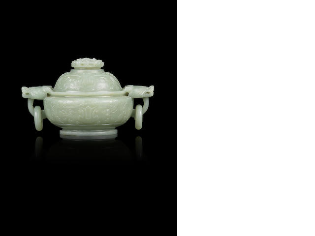 A greenish jade censer and cover 18th/19th century