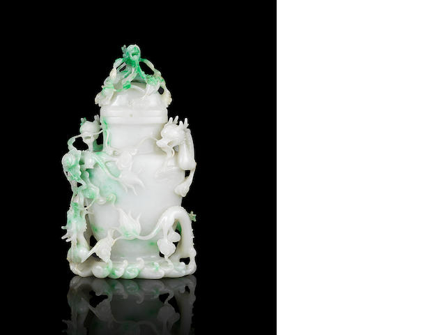 A fine jadeite 'dragon' vase and cover 19th century