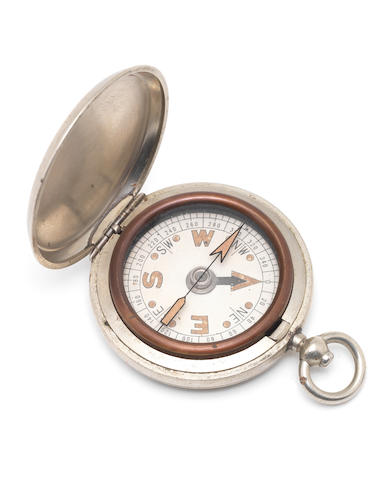 DISCOVERY An electroplated silver pocket compass presumed to have accompanied Koettlitz on the Discovery expedition, undated