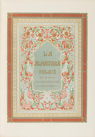 JONES (OWEN) and JULES GOURY Plans, Elevations, Sections, and Details of the Alhambra: From Drawings Taken on the Spot in 1834 by the Late M. Jules Goury and in 1834 and 1837 by Owen Jones. With a Complete Translation of the Arabic Inscriptions, and an Historical Notice of the Kings of Granada, from the Conquest of that City by the Arabs to the Expulsion of the Moors, 2 vol., 1842-46