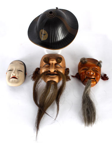 A Japanese Meiji period lacquered helmet and three theatrical masks