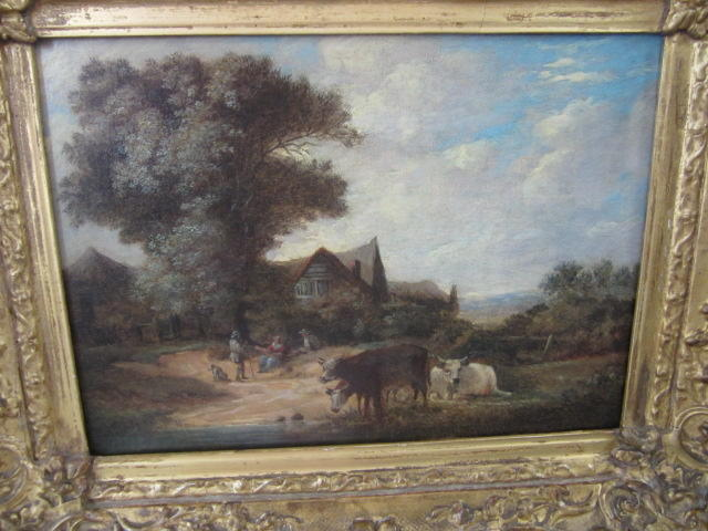 English School, 19th Century Cattle watering with figures and cottage beyond