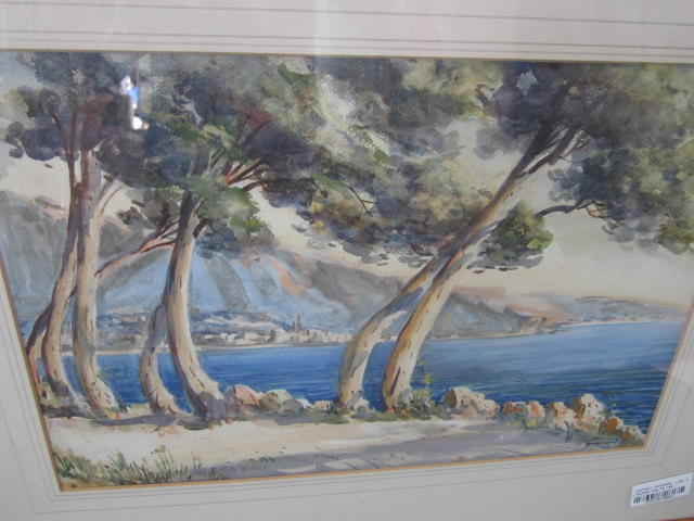 Gianni (Unattributable), (20th century) Cypresses along the shore