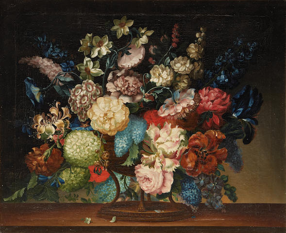 Continental School, 19th Century Still life of flowers