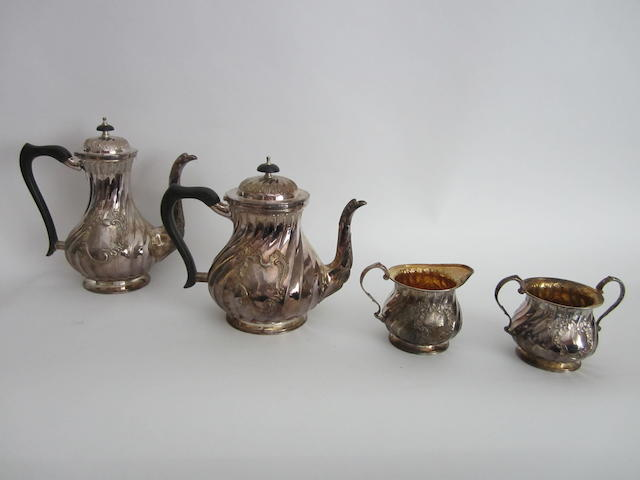 A silver four piece tea and coffee service  by Roberts & Belk, Sheffield 1976/7  (4)