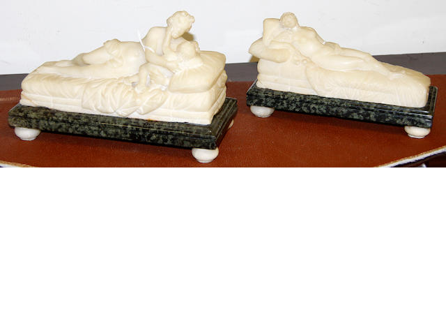 Two alabaster carvings19th Century