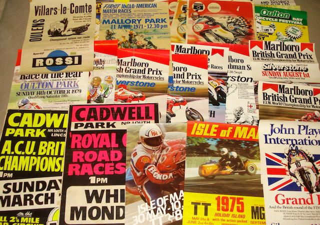 Assorted motorcycle race posters,