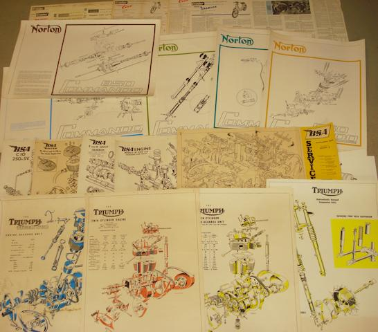 Assorted exploded diagram posters,