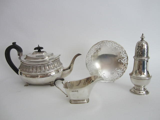 A George III silver baluster teapot  London, 1815