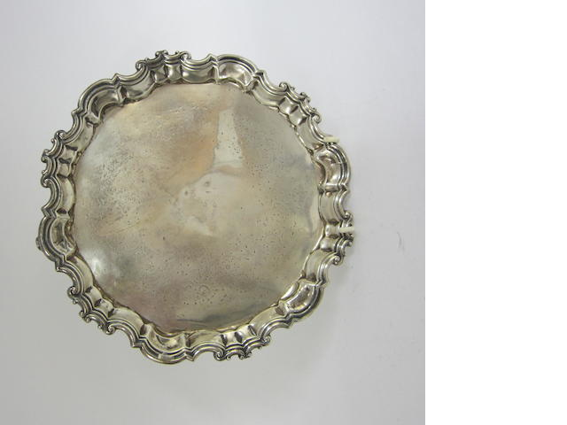 A George IV silver circular salver London 1830