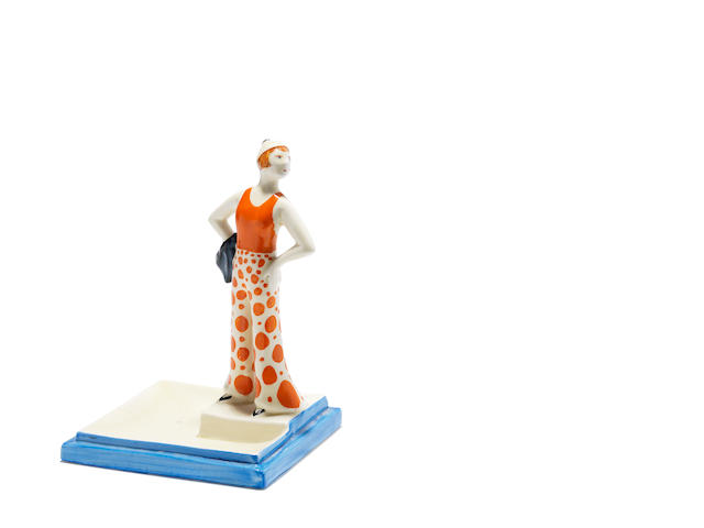A rare Clarice Cliff 'Lido Lady' ashtray Circa 1930