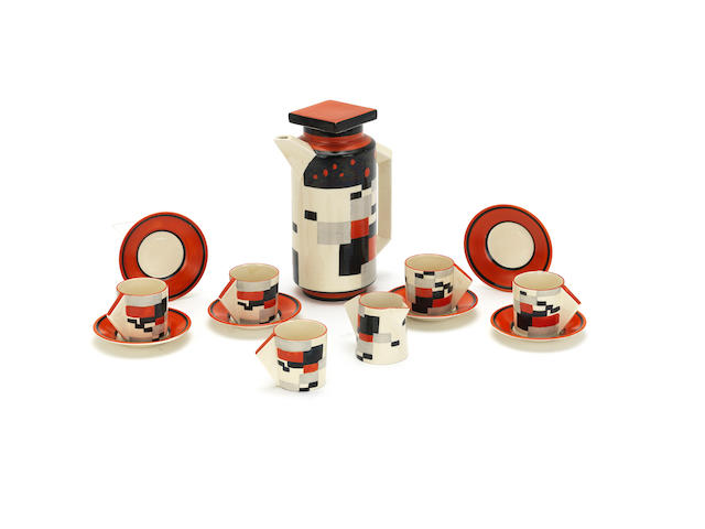 A rare Clarice Cliff 'Red Cafe' coffee set