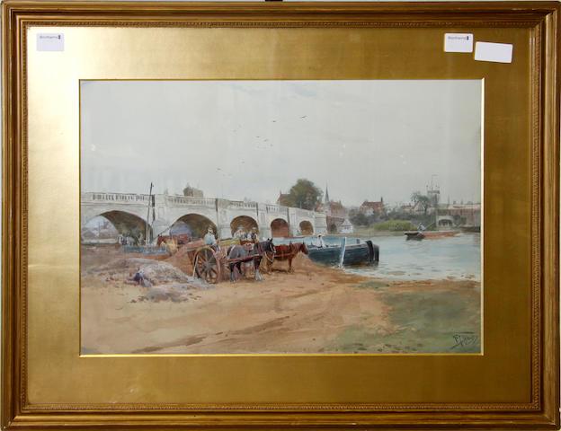 Henry Charles Fox (British, 1860-c.1913) Horses and carts before Henley bridge