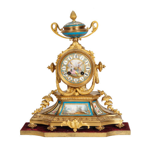 A French late 19th Century gilt bronze and porcelain mantel clock lacks pendulum