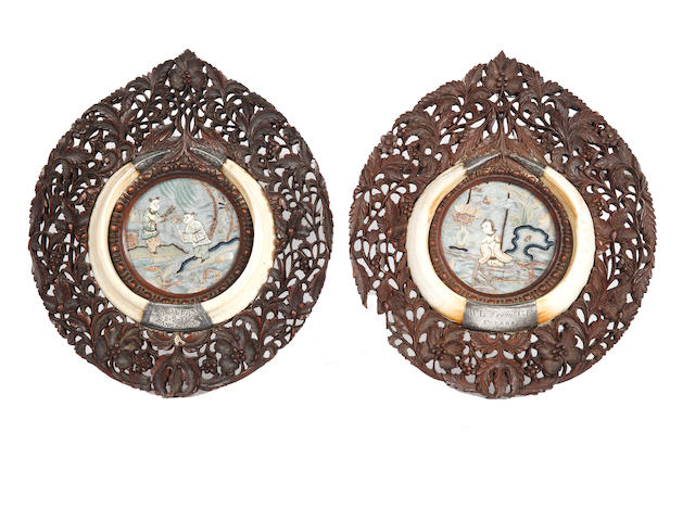 Two very similar late 19th Century Indian oval presentation plaques