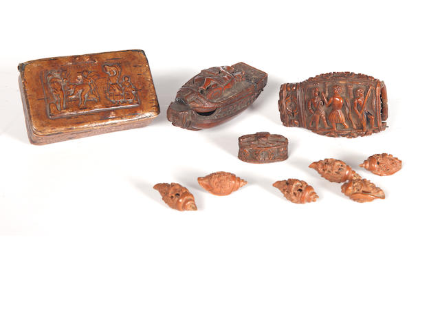 Two early colonial carved coquilla nut snuff boxes