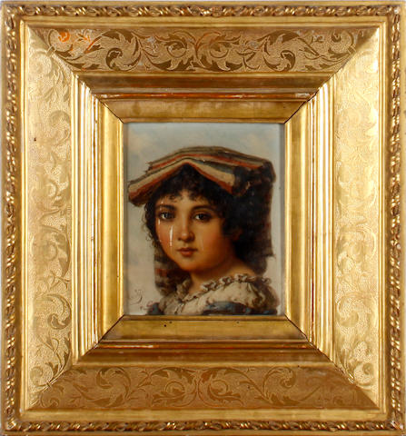 Italian School, 19th Century Portraits of peasant girls