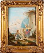 After Watteau, 19th Century Figures in classical landscapes