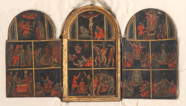 A late 18th century Continental triptych on wood panels