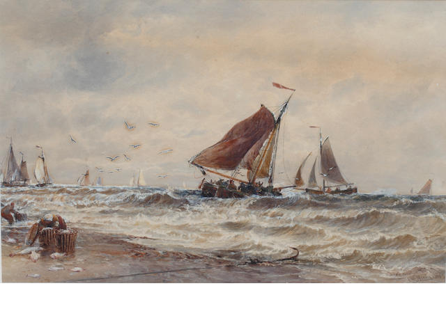 Thomas Bush Hardy (British, 1842-1897) Boats returning to Katwijk