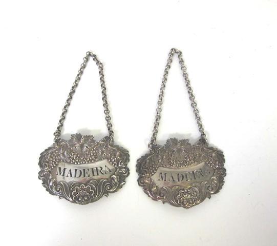 Two William IV silver wine labels, by Charles Rawlings & William Summers, London 1836,  (2)