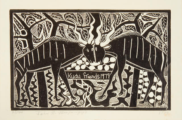 John Ndevasia Muafangejo (South African, 1943-1987) 'Kudu Friends 1979'