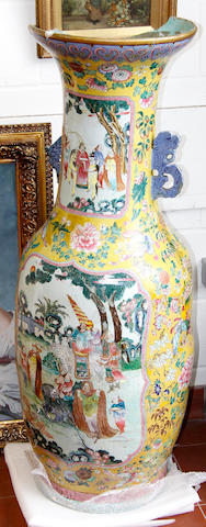 A large modern Chinese famille rose baluster vase