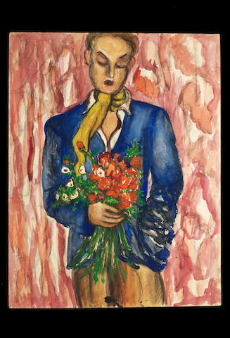 Fahrelnissa Zeid (Turkish, 1901-91) Portrait of a young man holding a bunch of flowers