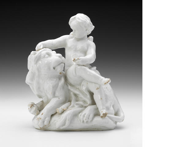 A Bow group of Cupid and a Lion, circa 1750