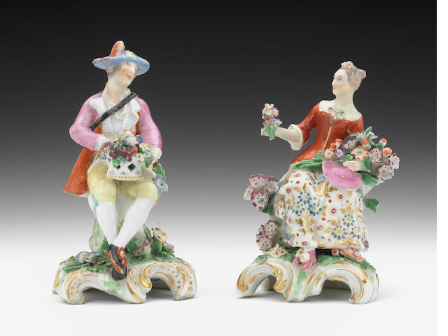 A pair of Chelsea figures of flower sellers, circa 1762-65
