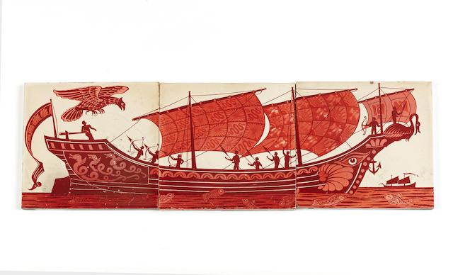 A William de Morgan three tile ruby lustre galleon panel Circa 1880