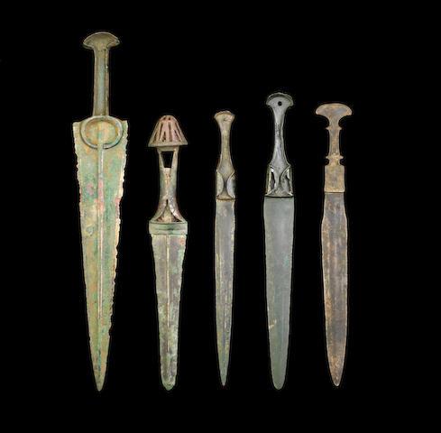 Five Luristan bronze daggers 5