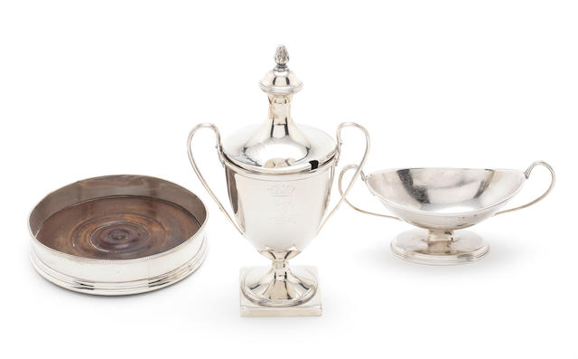 A George III silver mustard pot and two-handled salt by Andrew Fogelberg & Stephen Gilbert, London 1787,  (8)