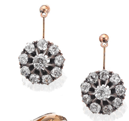 A pair of 19th century diamond cluster earrings