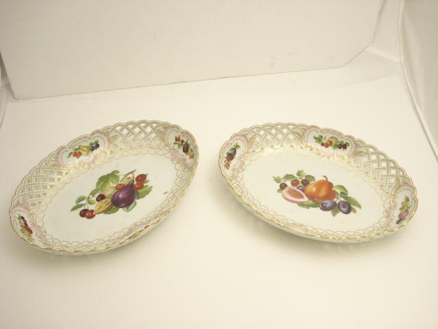 A pair of Meissen porcelain cake baskets 20th century