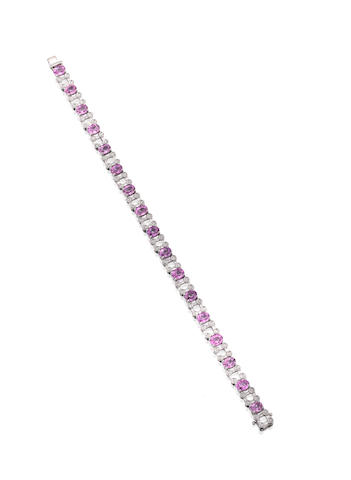 A pink sapphire and diamond bracelet