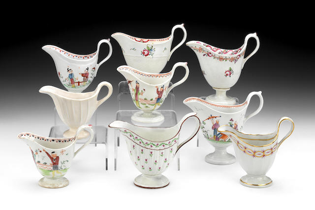 A reference collection of nine milk jugs, circa 1785