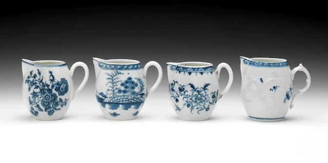 Four Caughley cream jugs, circa 1775-85