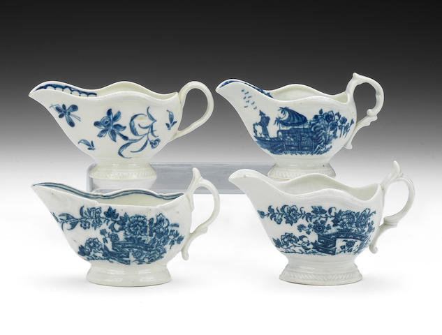 Two Caughley and two Worcester creamboats, circa 1765-75
