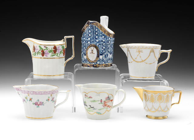 A group of six milk jugs, circa 1780-1805