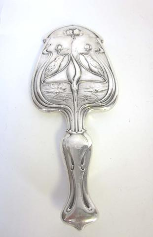 A Provincial  silver Art Nouveau hand-mirror by William Neale & Sons, Chester 1903