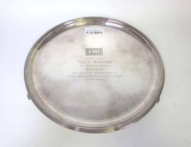 A  silver salver by Garrard & Co Ltd, Sheffield 1976