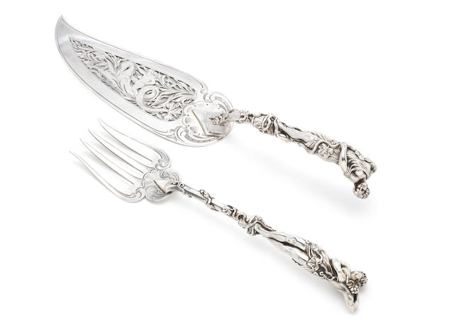 An impressive pair of Victorian silver fish servers by Francis Higgins, London 1855  (2)