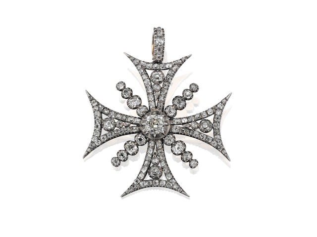 A 19th century diamond Maltese cross brooch/pendant