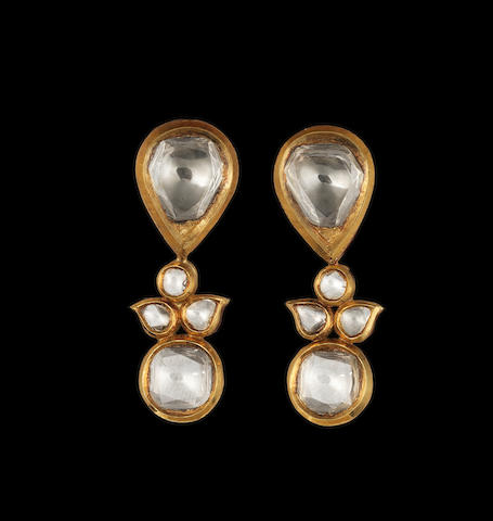A pair of diamond-set enamelled gold pendent Earrings Jaipur