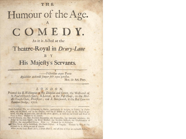 BAKER (THOMAS) The Humour of the Age, 1701; and 7 others (8)