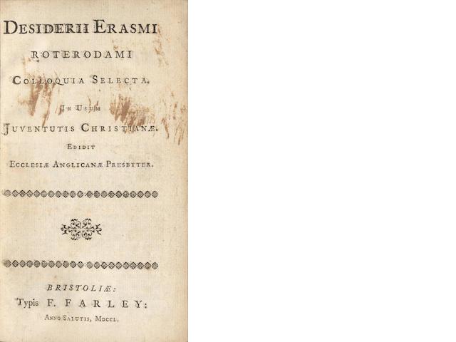 ERASMUS (DESIDERIUS) Colloquia selecta... edidit Ecclesiae Angicanae Presbyter [John Wesley], 1750