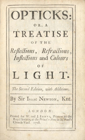 NEWTON (ISAAC) Opticks...Second Edition, with Additions, 1718