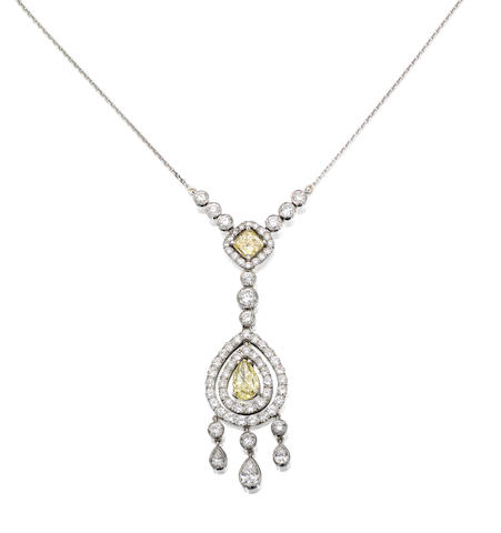 A diamond and coloured diamond necklace
